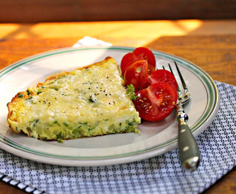 Zucchini, goat cheese and basil frittata, from The Perfect Pantry. #vegetarian #glutenfree