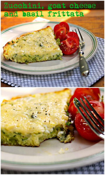Zucchini, goat cheese and basil frittata, for brunch or supper. #vegetarian #glutenfree