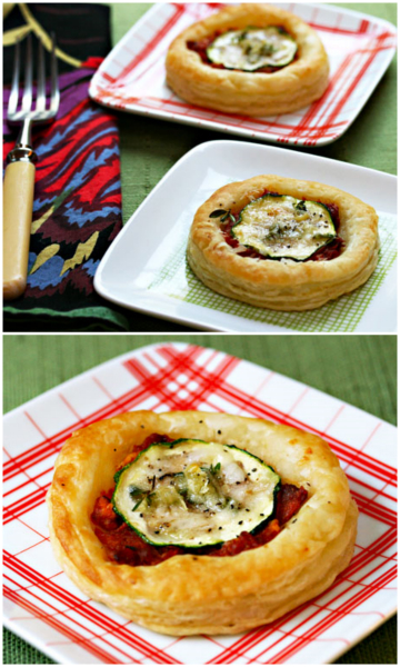 Easy puff pastry tartlets filled with slow-roasted tomato and zucchini.
