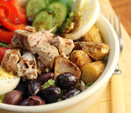 Easy version of a Nicoise composed salad.