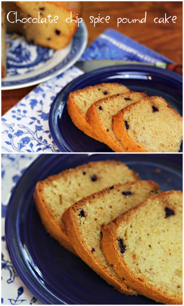 Chocolate chip spice pound cake, for Julia Child's birthday.