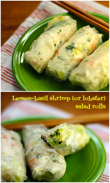 Gluten-free lemon-basil shrimp (or lobster) salad rolls!