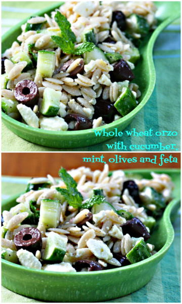 Picnic-perfect orzo salad with mint, olives and feta.