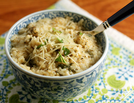 Green herb risotto, with kale or spinach.