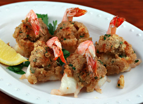 Baked stuffed shrimp, a New England tradition.