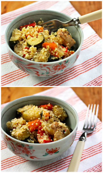 Hot roasted vegetables with couscous (and chicken, or shrimp, or tofu).