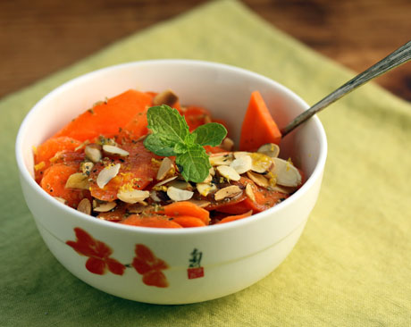 Sliced carrot and almond salad, with a minty lemon dressing.