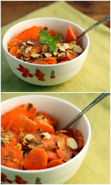 Sliced carrot and almond salad with roasted lemon dressing.