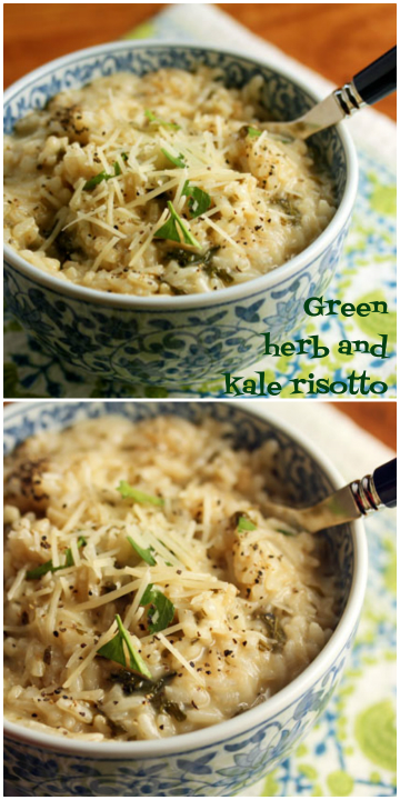 Green herb and kale risotto, #vegetarian and #glutenfree.