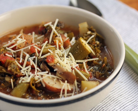 Italian vegetable soup, packed with garden goodness and couscous. #vegetarian