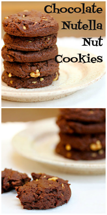 Chocolate Nutella nut cookies melt in your mouth!