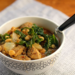 Smashed white bean, chicken sausage and kale soup {gluten-free}