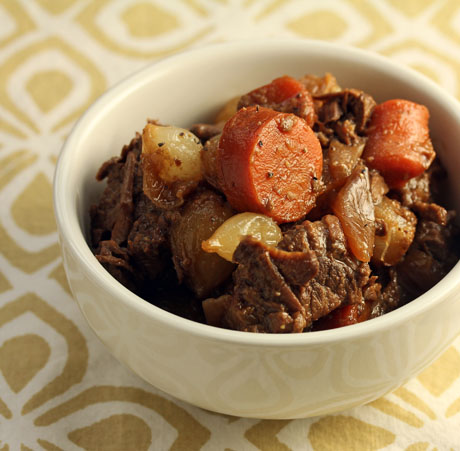 Slow cooker honey Sriracha beef stew, from The Perfect Pantry.