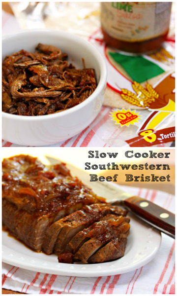 Slow cooker Southwestern beef brisket. Slice it for sandwiches, or shred it for tacos.