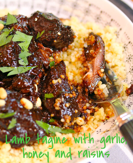 Moroccan lamb tagine with garlic, honey and raisins. So good, they should call it candy!