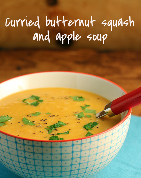 Curried butternut squash and apple soup, a little bit sweet. #vegan #glutenfree