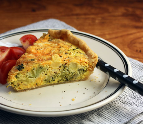 Broccoli, cheddar and mashed potato quiche, made with Thanksgiving leftovers. #vegetarian