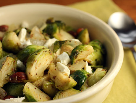 Warm Brussels sprouts salad with almonds and goat cheese. #Thanksgiving #vegetarian #glutenfree