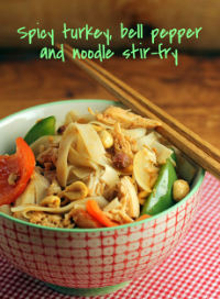 Spicy turkey, bell pepper and noodle stir-fry, made with Thanksgiving leftovers.