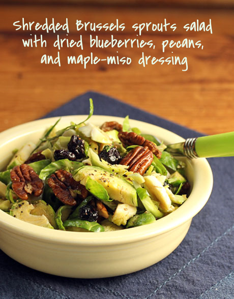 A sweet and salty dressing makes this Brussels sprouts salad lick-the-plate delicious. #vegan #salad