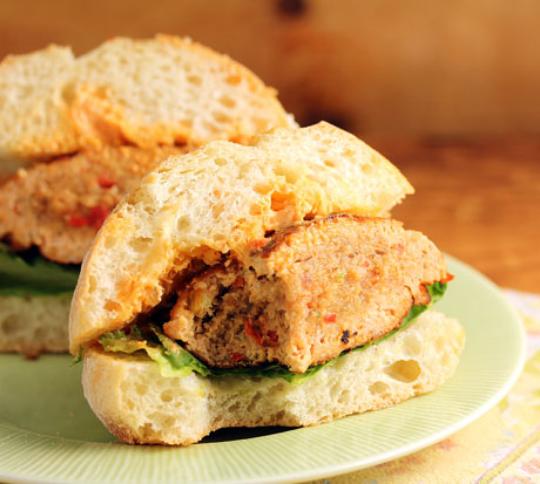 Spicy Sriracha sauce kicks up this pan-seared tuna burger.