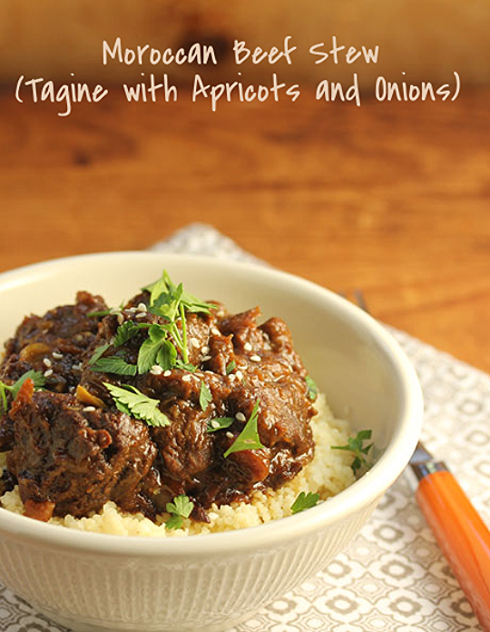 """Moroccan beef stew (tagine) with apricots and onions, and plenty of """"warm"""" spices. #glutenfree."""