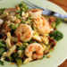 Brussels sprouts, bacon and greens salad with roasted shrimp {gluten-free}