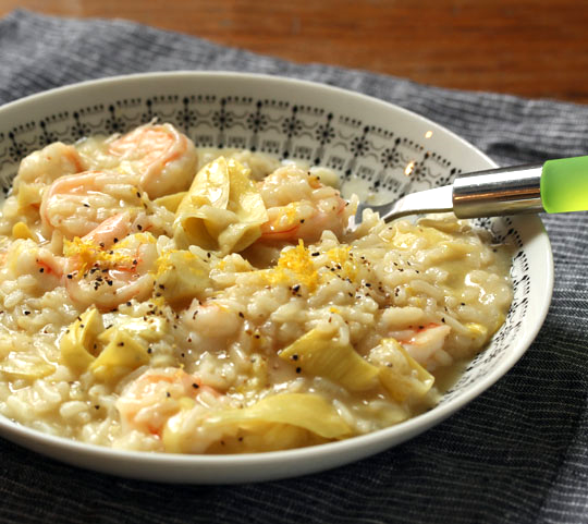 Lemon, artichoke and shrimp risotto, easy to make on the stovetop or in the pressure cooker.
