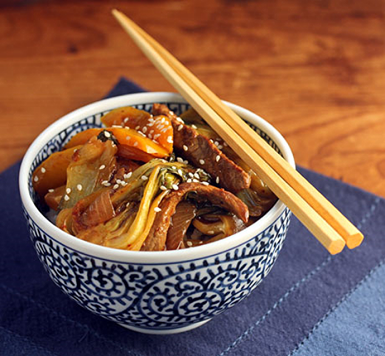 Spicy beef, bok choy and bell pepper stir fry: the ultimate comfort food.