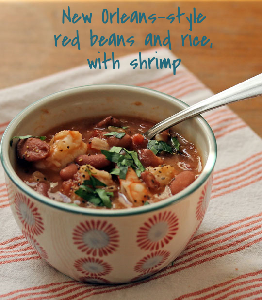 Not just for Mardi Gras, red beans and rice (with or without shrimp) makes a festive main dish.