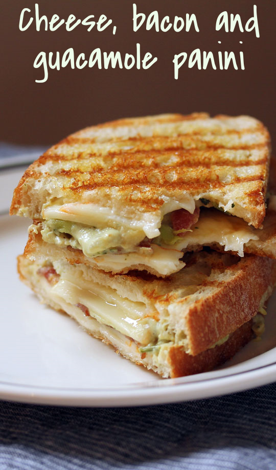 Muenster cheese, bacon and guacamole panini, invented by a Boston food truck.