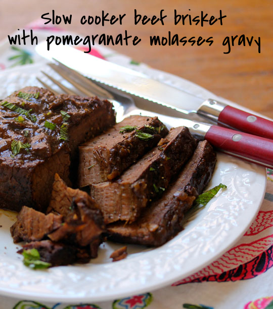 A great party or holiday dish: beef brisket with pomegranate molasses and mint. [ThePerfectPantry.com]