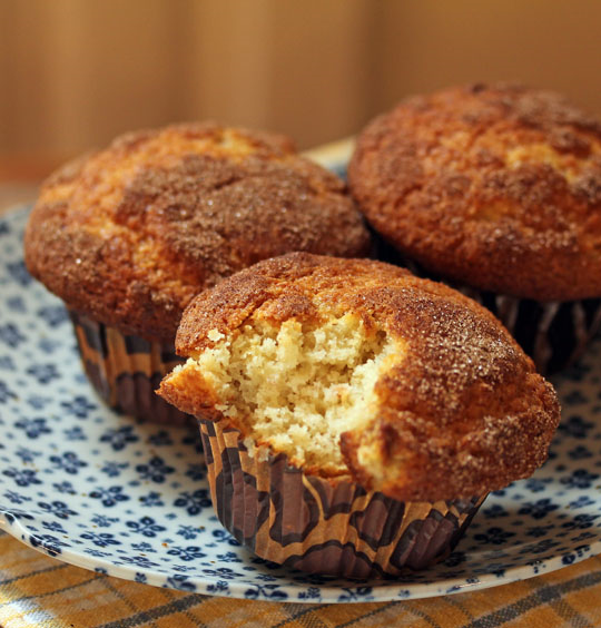 Sugar crusty banana muffins, with a hint of the tropics! [ThePerfectPantry.com]