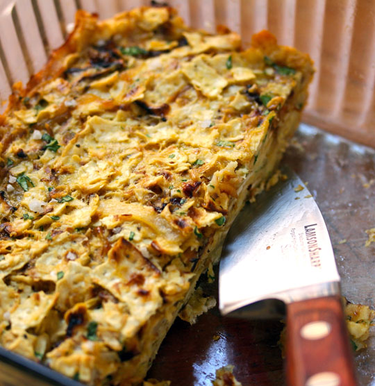 Oven-baked matzoh brei will turn your breakfast world upside down! [ThePerfectPantry.com]