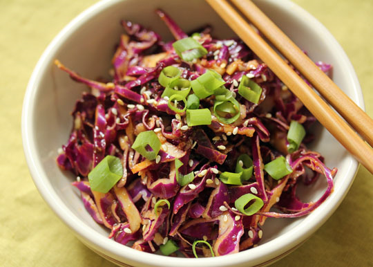 Sesame ginger red cabbage salad, so easy with just one vegetable. [ThePerfectPantry.com] #vegan #glutenfree