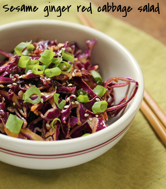 Sesame ginger red cabbage salad, great with grilled chicken or fish. #glutenfree #vegan [ThePerfectPantry.com]