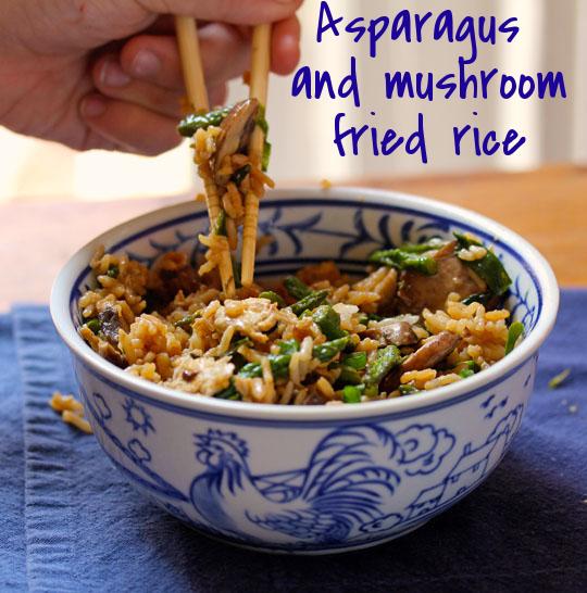 Asparagus and mushroom fried rice, so easy!