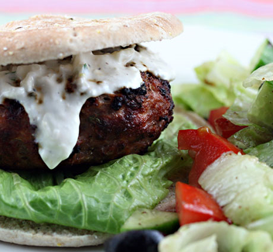 Greek turkey burgers with yogurt and feta sauce, from The Perfect Pantry.