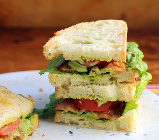 The stuff of dreams: BLT sandwich with garlicky Green Goddess dressing..