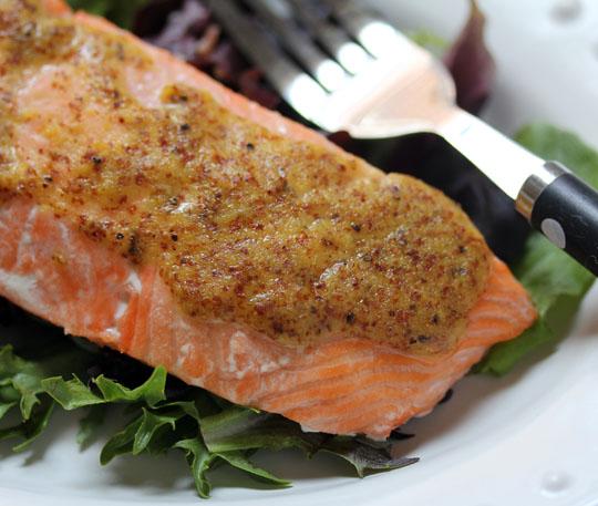 Lemon maple mustard sauce makes this salmon sing!