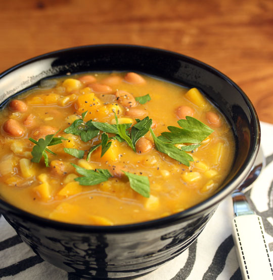 Three Sisters soup combines beans, corn and squash. Make ahead and freeze, from The Perfect Pantry.