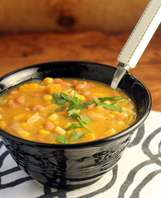 Beans, corn and squash (The Three Sisters) make magic in this soup that's easy to freeze, from The Perfect Pantry.