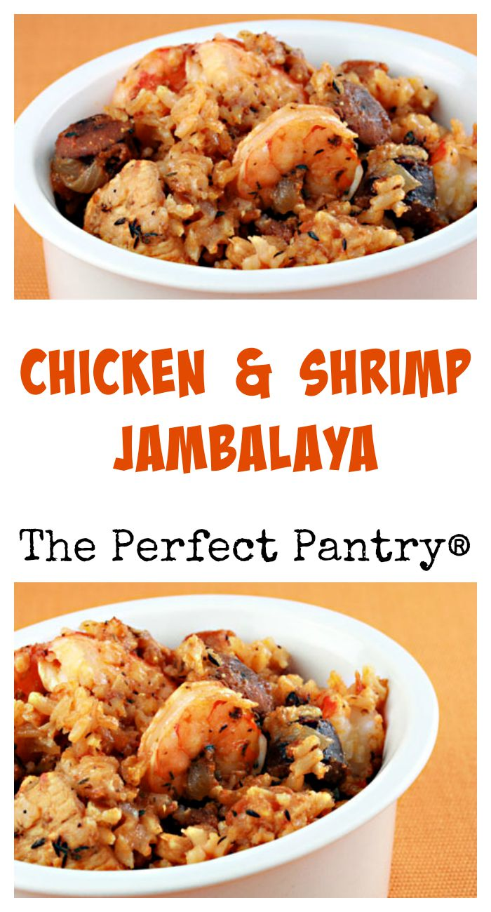 Chicken and shrimp jambalaya, a favorite from from Cajun country. Make it spicy, or make it spicier!