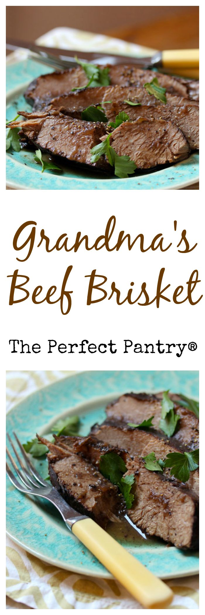 Grandma's beef brisket, braised in red wine until it practically falls apart.