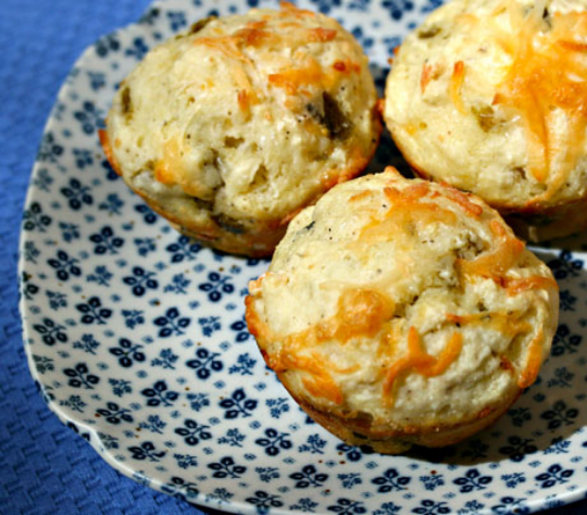 Rhode Island white corn and green chile muffins, a little bit of zip for breakfast!
