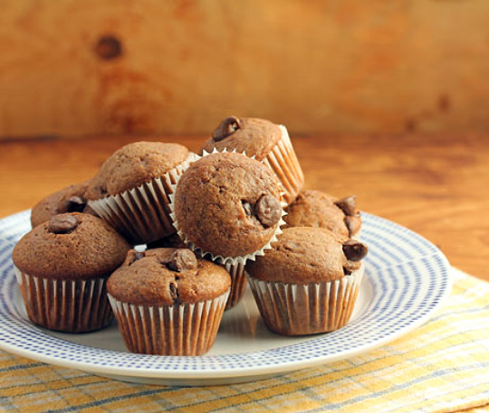 When you just want a bite or two of chocolate at the end of a meal, have one of these chocolate chip mini-muffins.