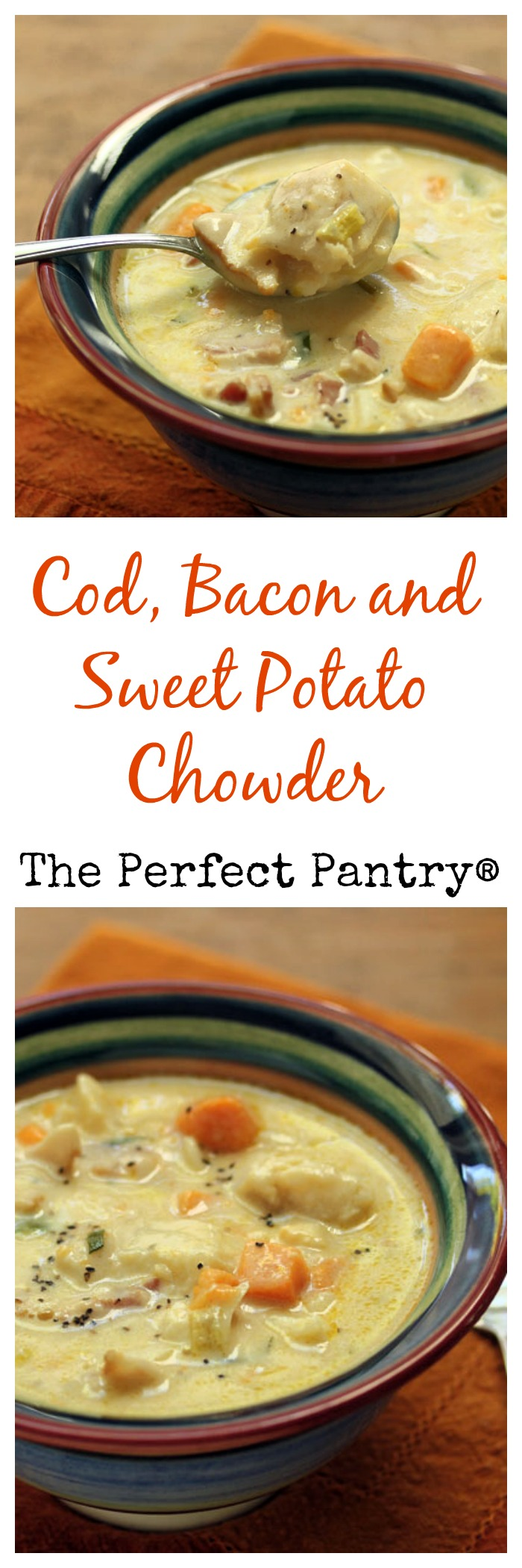Cod, bacon and sweet potato chowder, a twist on the New England classic.
