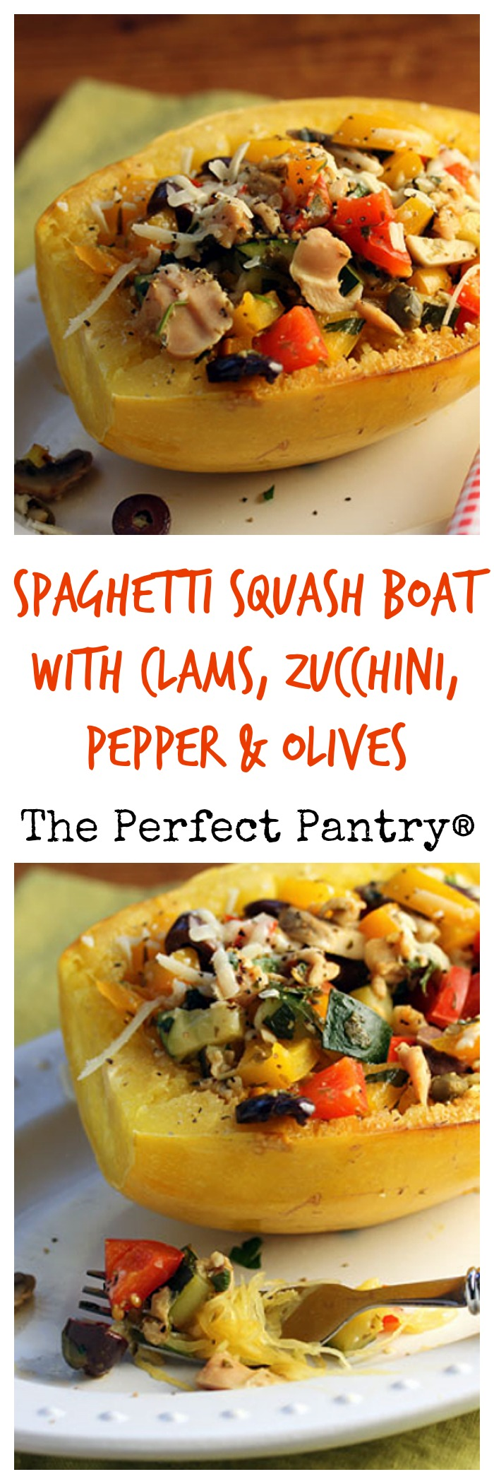 Spaghetti squash boat filled with clams, zucchini, bell peppers and olives: my grandkids loved it!