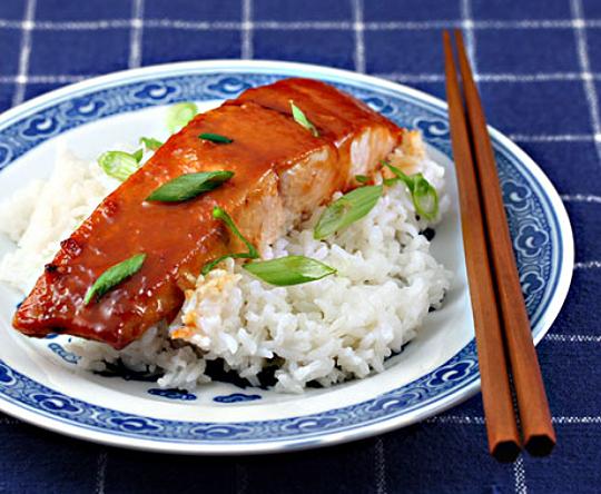 Miso-Sriracha glazed salmon
