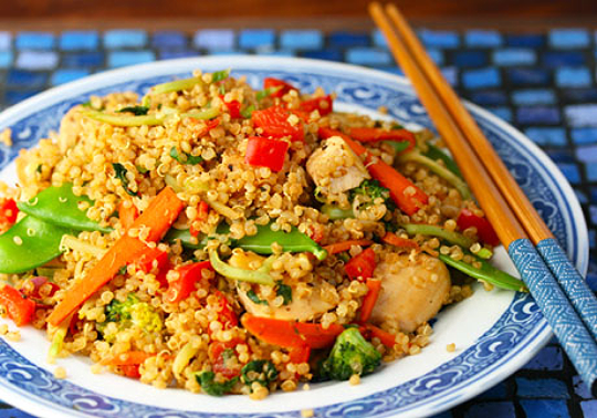 Chicken and vegetable quinoa stir-fry.
